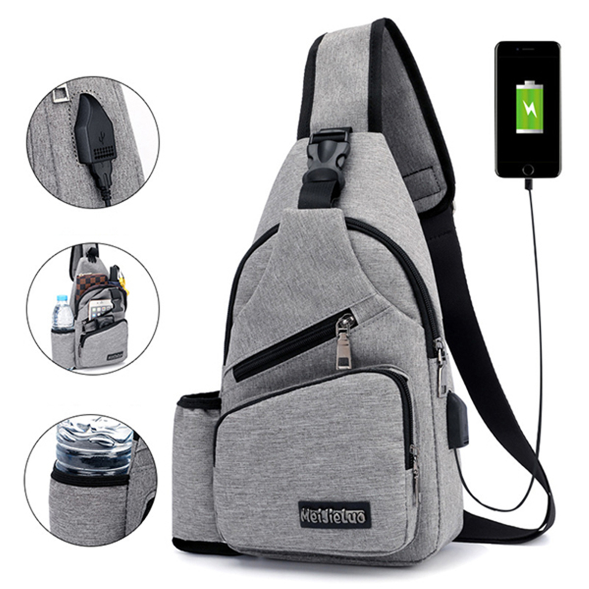 Men Oxford Large Capacity Casual Outdoor Travel USB Charging Port Sling Bag Chest Bag Crossbody Bag