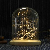 15*18.5cm Glass Dome Display Jar Clothe Decor Wooden Base w/ Fairy LED Light
