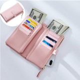 Women Faux Leather Tri-fold 22 Card Slot Wallet Casual Solid Phone Purse Long Wallet