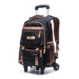 24L Men Women Boys Girls Teenager Student Travel School Bag Wheel Trolley Luggage Backpack