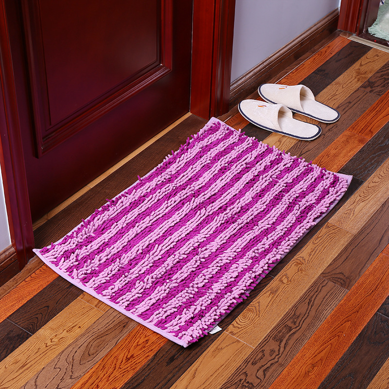 Chenille Striped Floor Mat Carpet Rectangle Fluffy Floor Carpet Cover