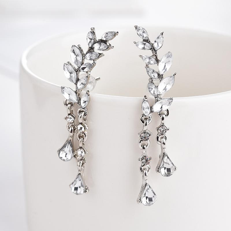 Sweet Leaf Rhinestone Earrings Silver Gold  Piercing Tassel Crytral Earring for Women