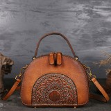 Women Genuine Leather Vintage Handbag Double Layer Brush Color Crossbody Bag