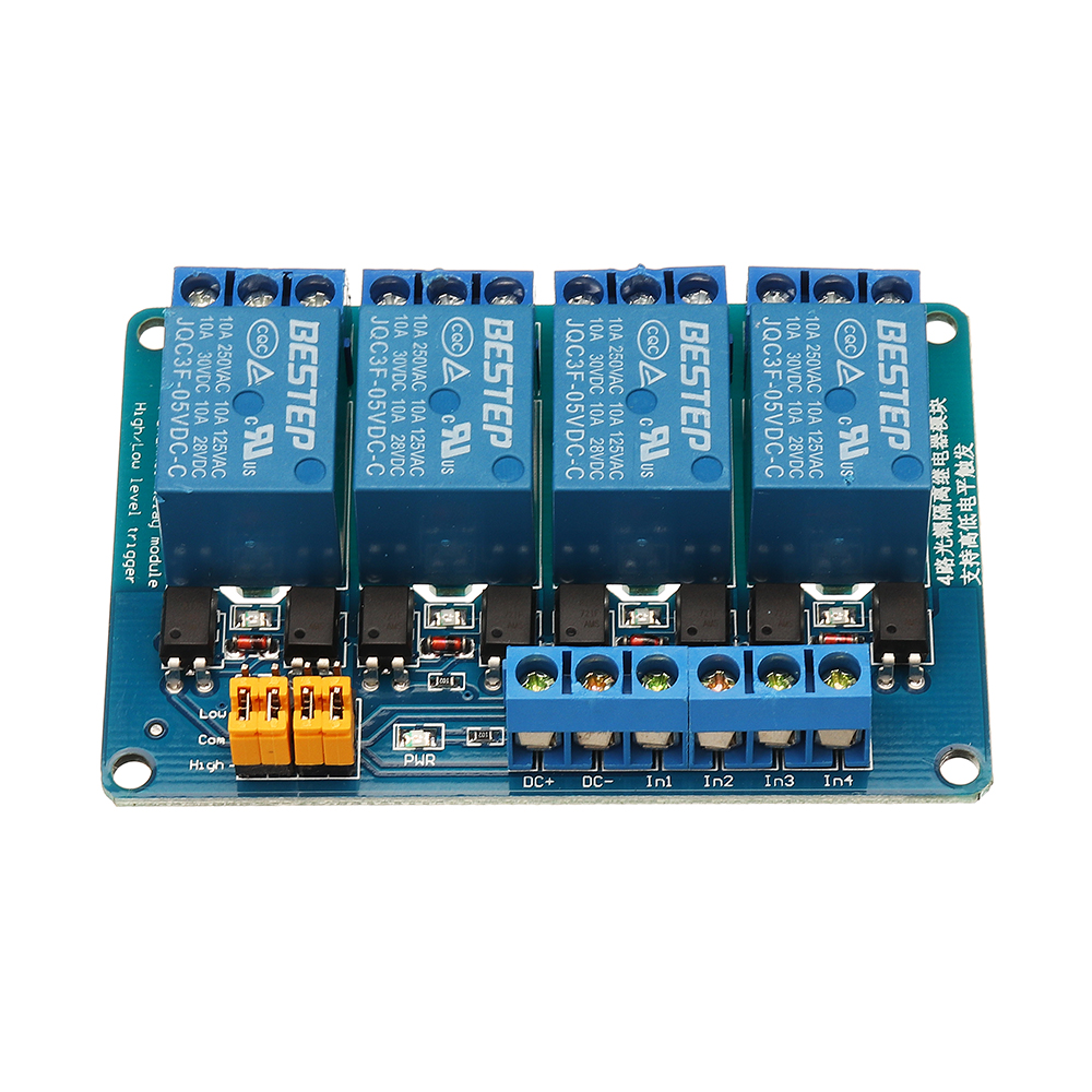 5V 4-Channel Relay Module with Optocoupler High Low Level Trigger for Arduino