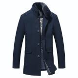Thick Woolen Overcoat Detachable Fleece Collar Stylish Slim Fit Jacket for Men