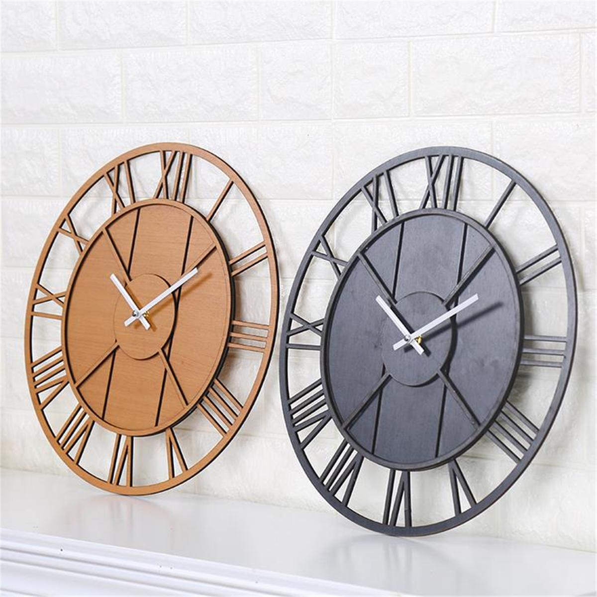 Modern Wall Clock Round Silent Movement Skeleton Roman