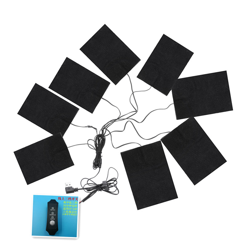 5-12V 8 In 1 Clothes Heating Pads Adjustable Temp Thermal Clothing Jacket Electric USB