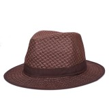 Mens British Fedora Jazz Hat Outdoor Visor Breathable Mesh Flat Edge Visor Foldable Bowler Hat