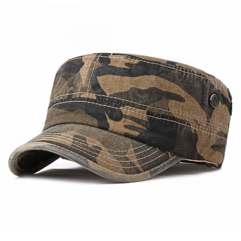 a193383932b423 Men Washed Cotton Camouflage Flat Top Hats Outdoor Visor Military Cadet Cap  Adjustable