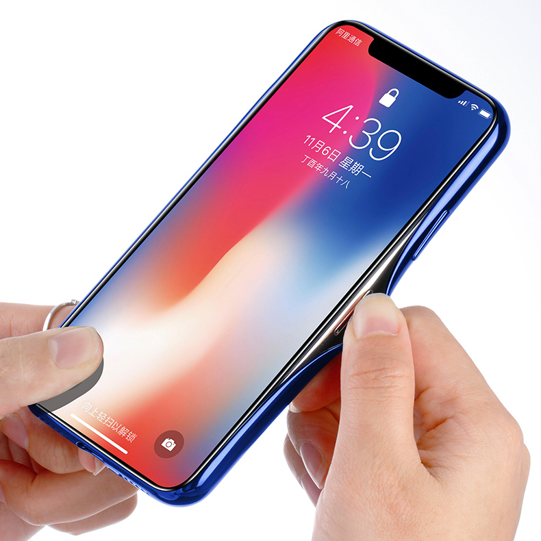 Cafele Laser Bling Gradient Color Scratch Resistant Tempered Glass Protective Case For iPhone X
