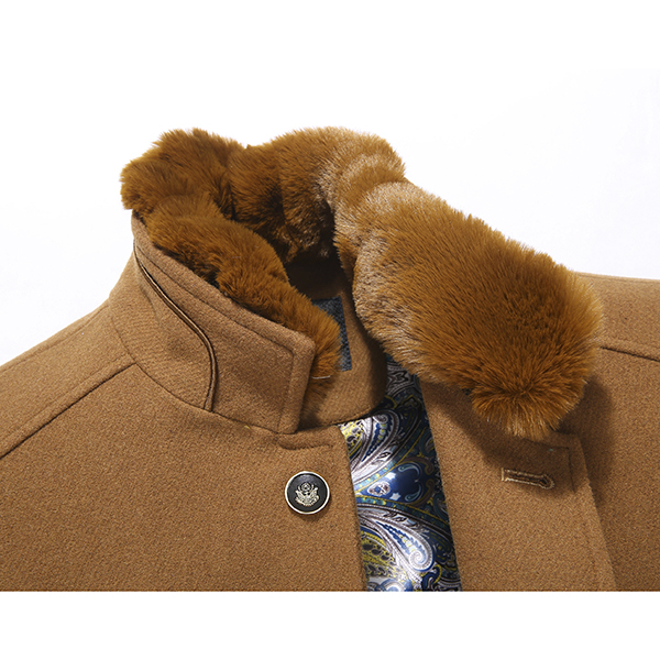 Thick Woolen Overcoat Detachable Fleece Collar Stylish Slim Fit Jacket for Men