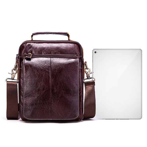 Men Genuine Leather Business Casual Vintage Large Capacity Multi-function Crossbody Bag