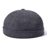 Mens Womens Winter Corduroy Adjustable French Brimless Hats Fashion Skullcap Sailor Cap