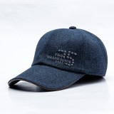 Mens Middle-aged Cotton Earmuffs Letter Embroidered Baseball Cap Adjustable Dad Peaked Hat