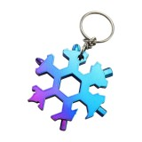15-in-1 Stainless Multi-function with Snowflake Shape Keychain Screwdrivers Bottle Opener Hex Wrench