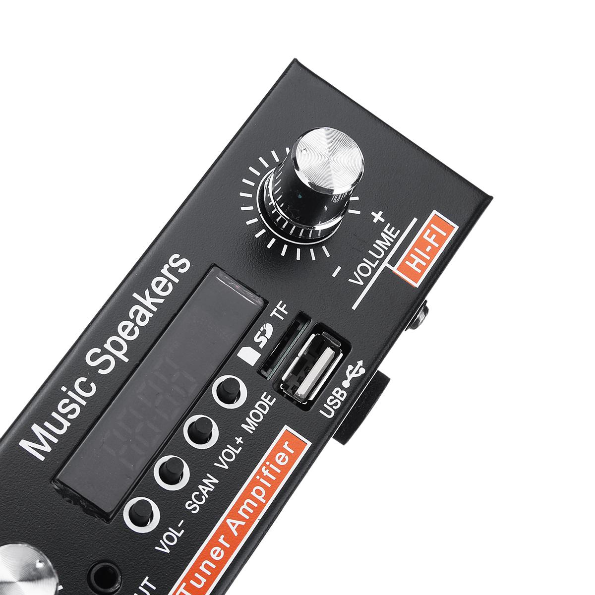 12V/220V 2CH HIFI Audio Stereo Power Amplifier Bass Bluetooth FM Radio Car Home