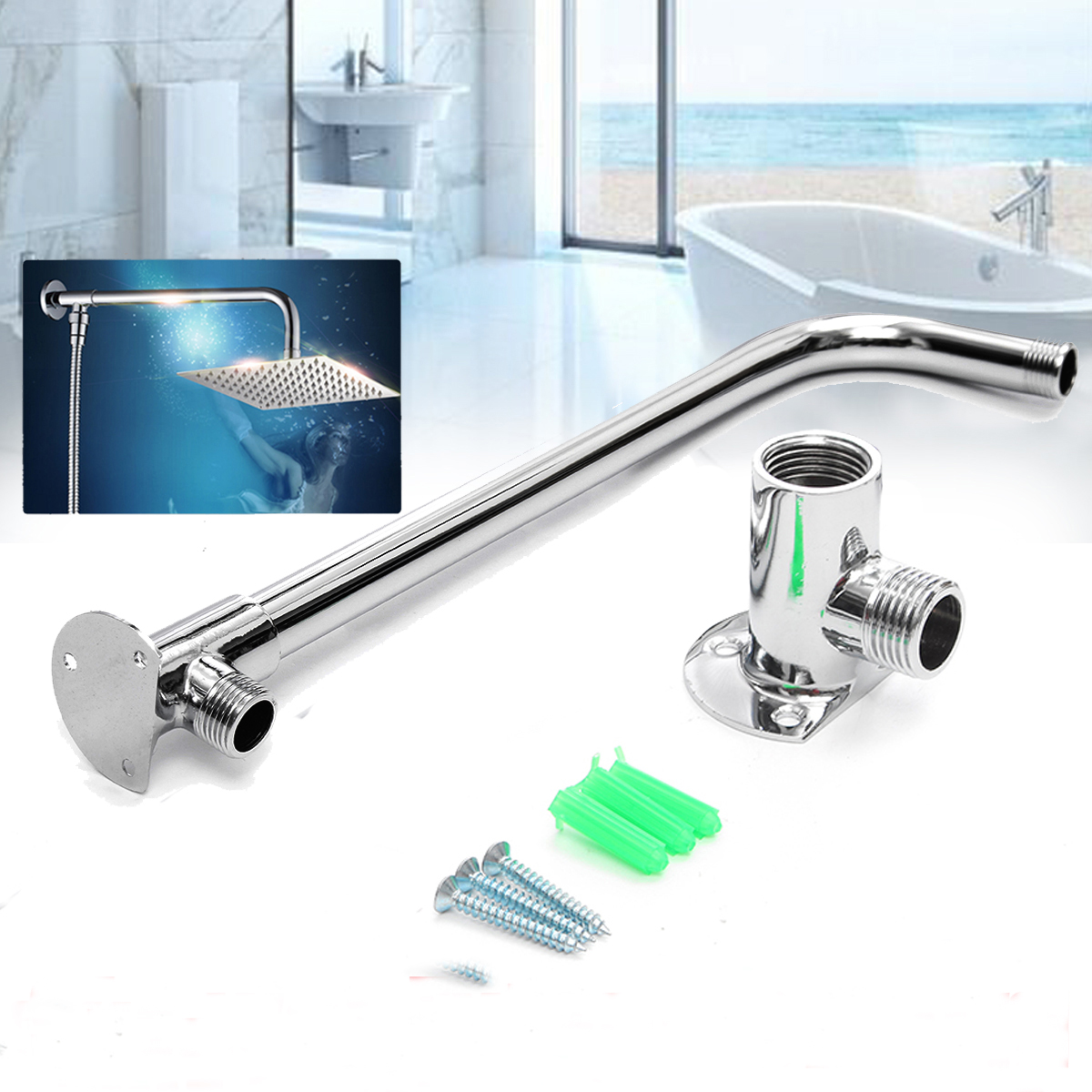 Shower Arm Square Stainless Steel Top Straight Shower Arm Pipe Wall Mount for Bathroom Ceiling Shower Head 30 cm