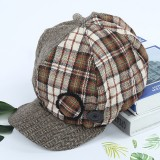 Women Retro Patchwork Stripe Plaid Beret Caps Winter Vintage Cotton Painter Newsboy Hat