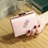 Women Faux Leather Tri-fold Short Wallet Solid Coin Purse Card Holder