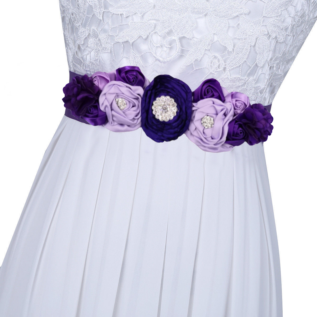 Flower Belts For Wedding Dresses: Beauty Kids Flower Girl Satin Silk Flower Sash Belt