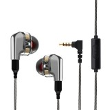 Portable Wired Control In-ear Earphone 3.5mm Jack HIFI Dual Dynamic Drivers Noise Reduction With Mic