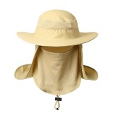 Men Outdoor Climbing Sunshade Hat Casual 360 Degree Sun Protection Uv  Fishing Cap with Face Cover