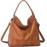 Brenice Rivet Decoration Handbag Women Large Capacity Women PU Leather Shoulder Crossbody Bag
