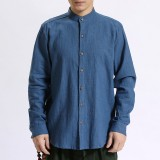 TWO-SIDED Vintage Casual Loose Comfy Band Collar Cotton Shirts for Men