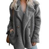 Plus Size Women Fleece Lapel Pure Color Button Pockets Warm Jacket Coats