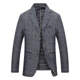 Mens Autumn Plaid Printing Fit Casual Business Blazers Coats