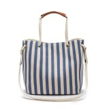 Women Canvas Stripe Bucket Bags Multi-function Crossbody Bag Casual Shoulder Bag Handbag
