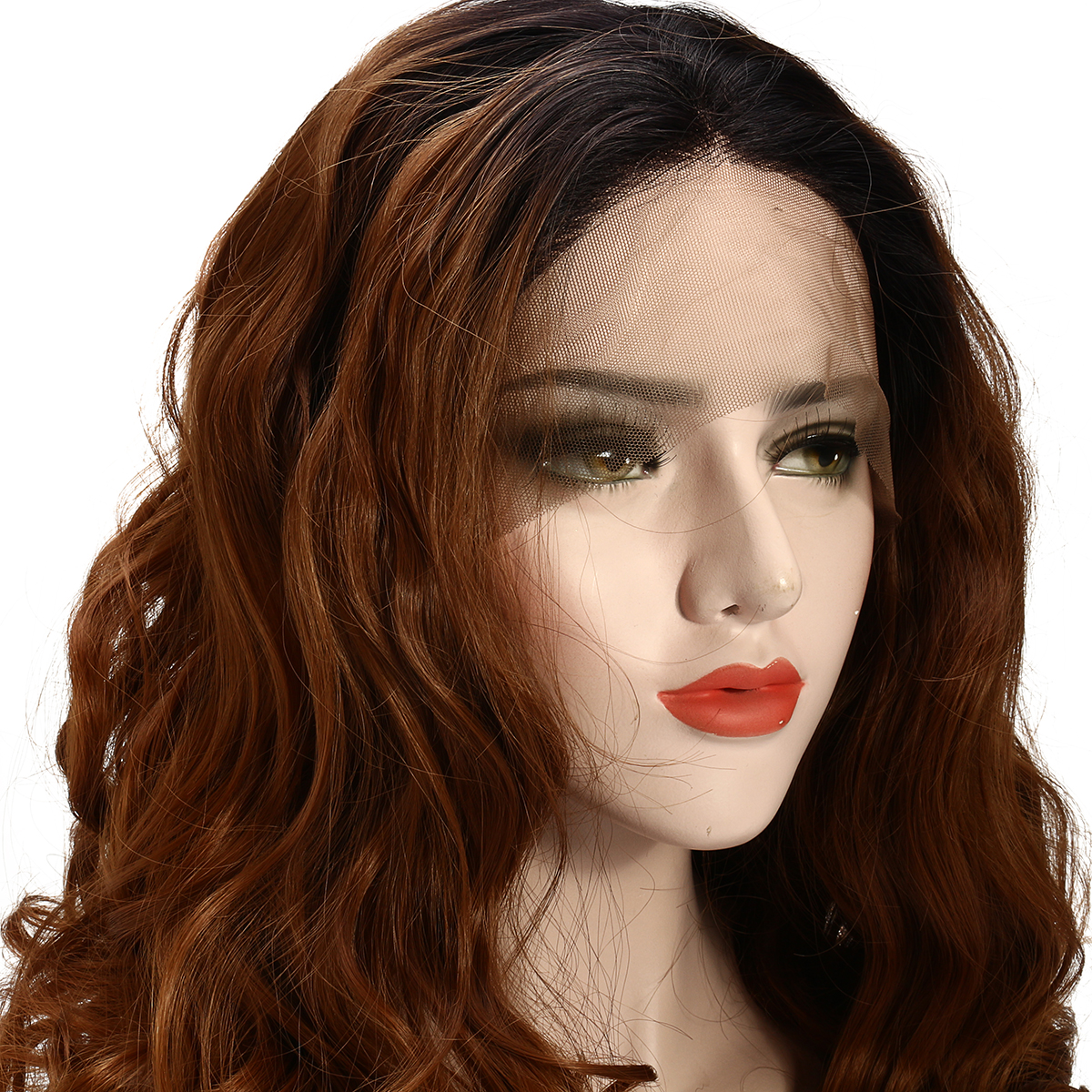 """22"""" Lace Front Wigs Gold Ombre Bob Two Tone Wave Wig Baby Hair Pre Plucked"""