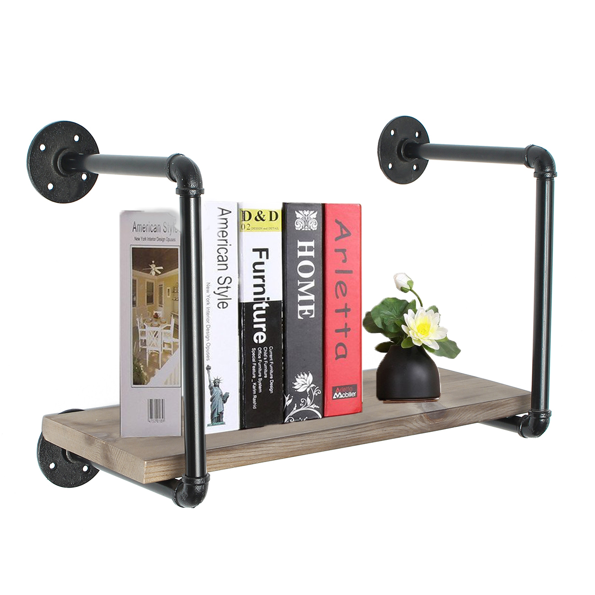 rustic wood pipe frame floating shelf bracket rack holder. Black Bedroom Furniture Sets. Home Design Ideas