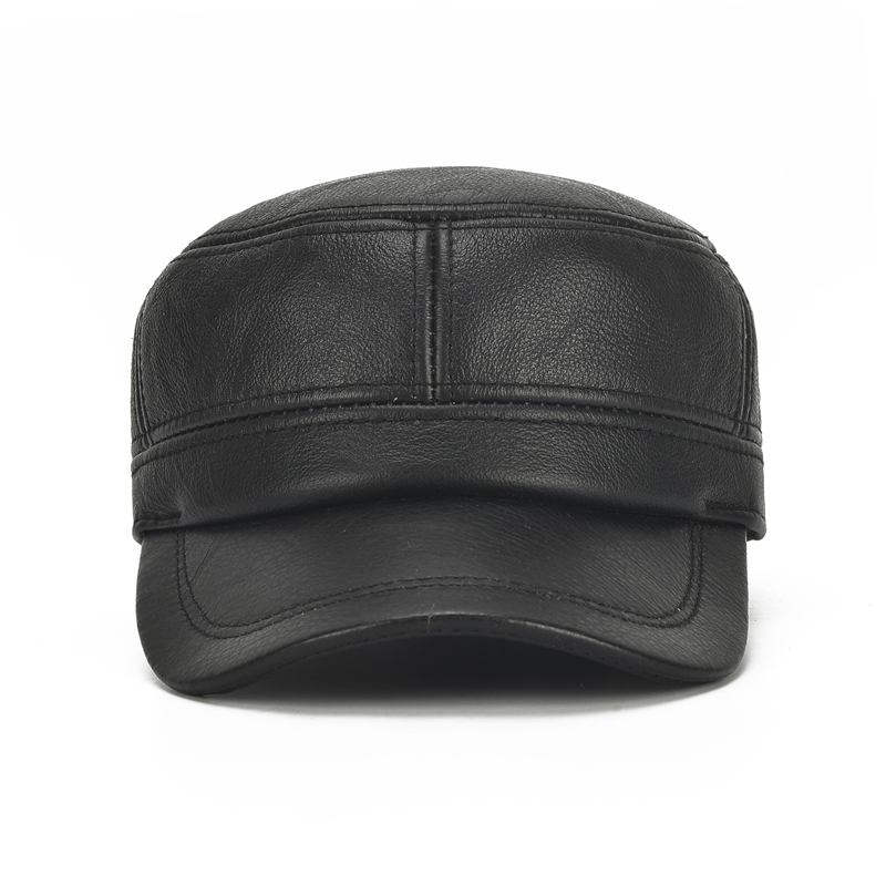 345f7372 More Details. More Detailed Photos: Mens Winter Leather Earmuffs Flat Top  Hats Outdoor Durable Warm Military Army Peaked Cap