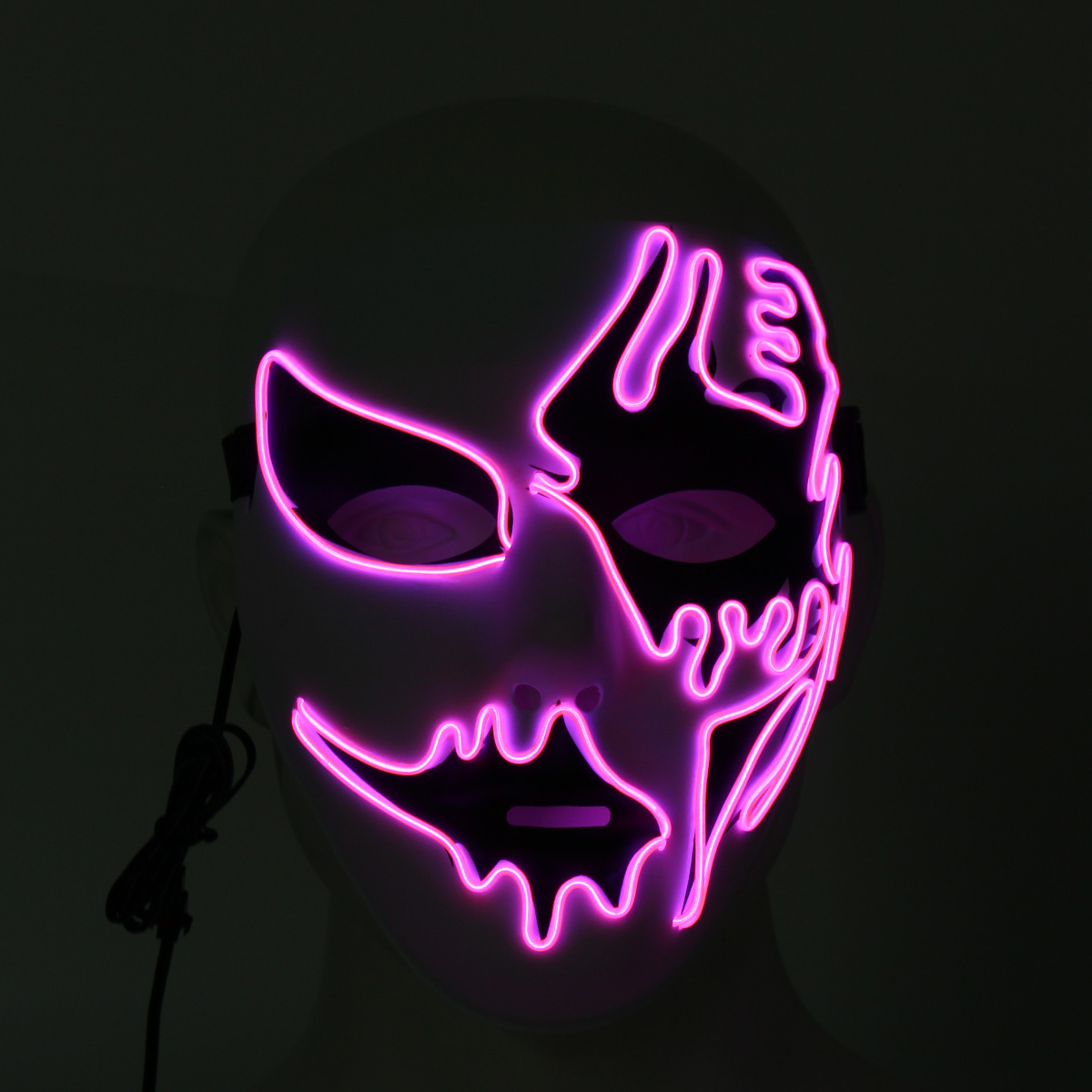 US!LED Light Up Mask Halloween Funny Scary Smiling face Rave Purge Cosplay Prop
