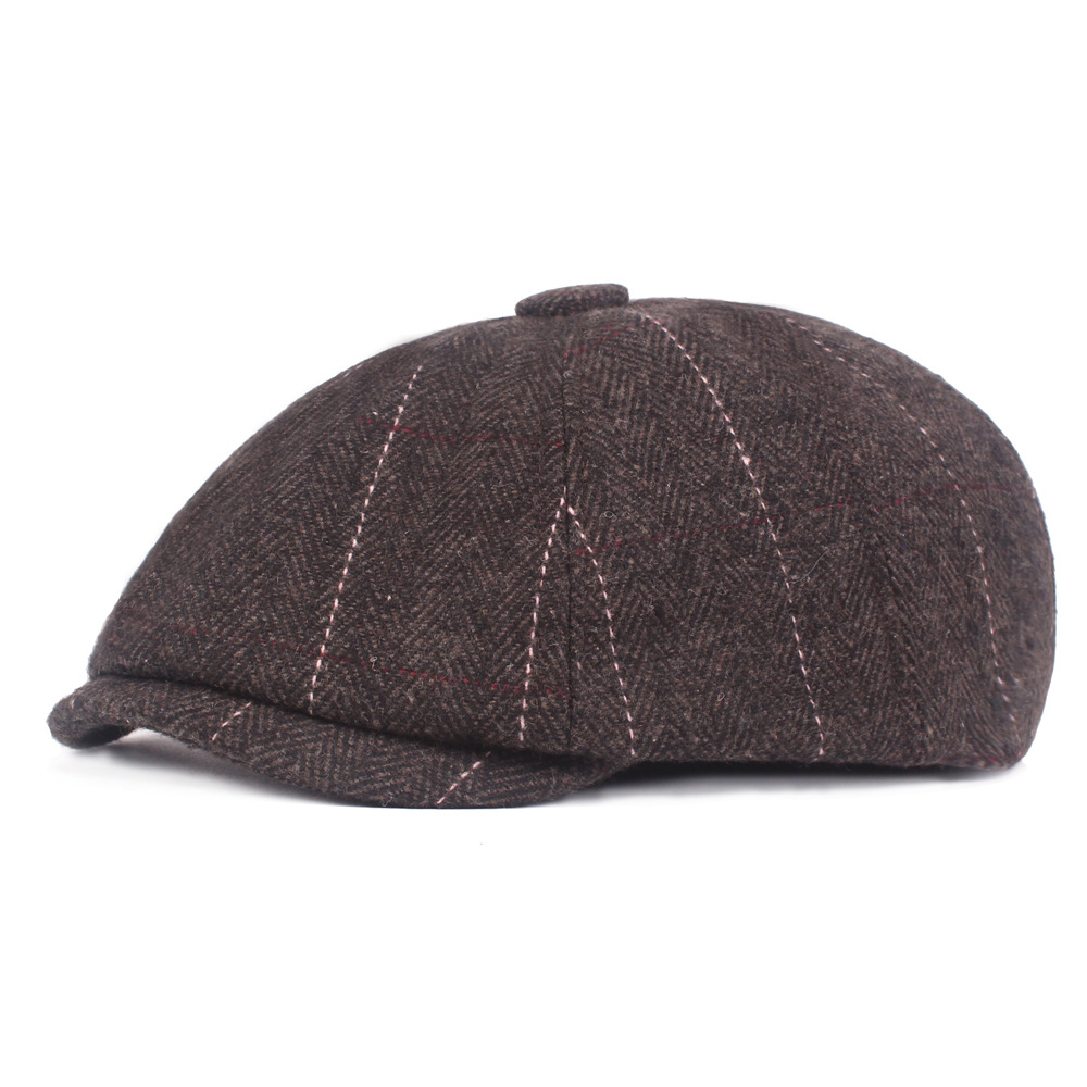 Men Casual Middle-Aged Stripe Felt Beret Hat Casual Windproof Flexible Octagon Newsboy Caps