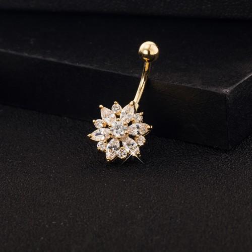 Elegant Rhonestone Belly Ring Flower Belly Navel Bar Piercing Ring for Women
