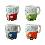Cartoon Double Bus Mug Funny Hand Painting Retro Ceramic Cup Coffee Milk Tea Cup Drinkware