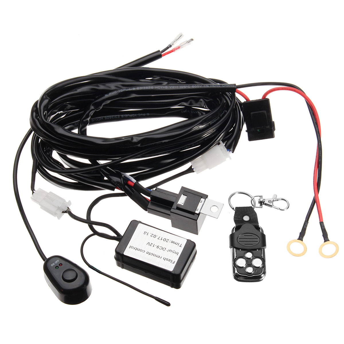 12v Wiring Kit With Wireless Remote Control Transmitter For Led Light Bar Atv Suv 2lead