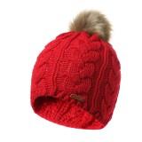 Womens Cotton Thicken Ski Knit Hat Outdoor Winter Earmuffs Headgear Bonnet Beanie