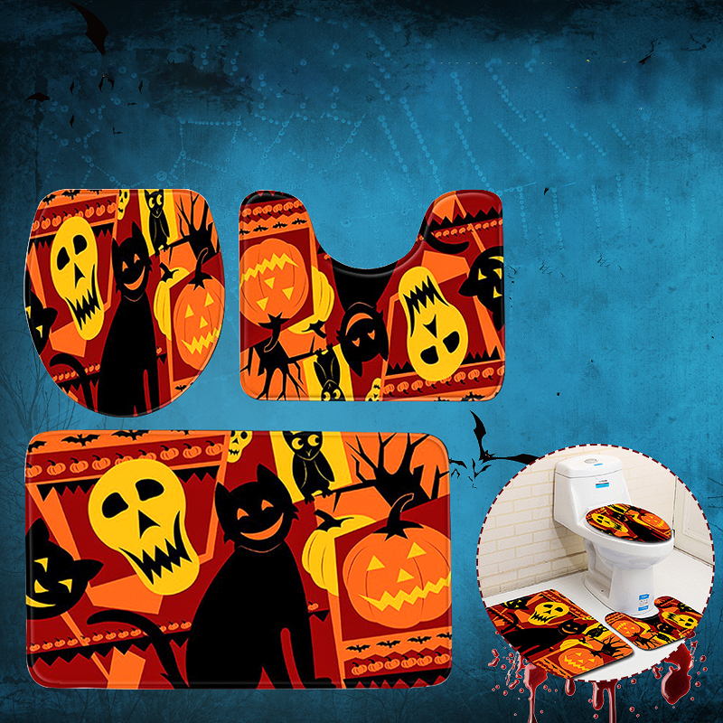 3pc Halloween Print Carpet Bathroom Non Slip Pedestal Rug
