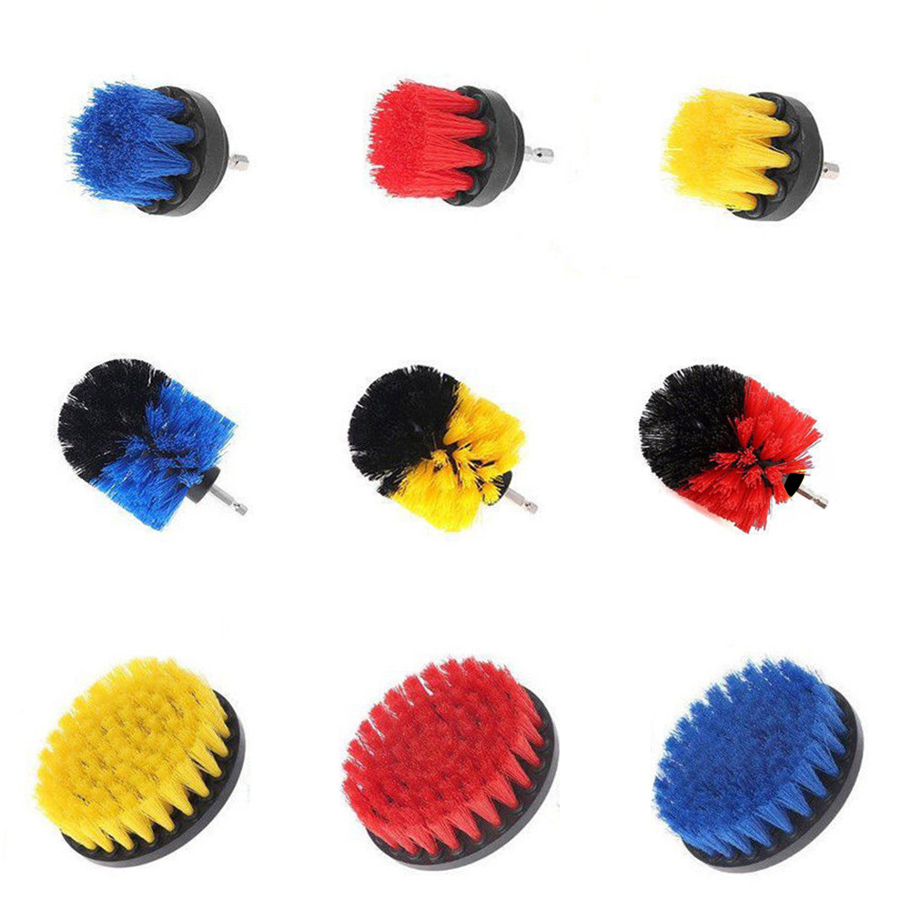 3Pcs Yellow/Red/Blue Drill Cleaning Brush Tub Cleaner Tile