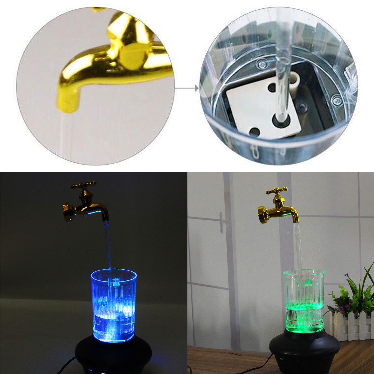 LED Magic Faucet Mug Color Nightlight Water Floating Fountain Faucet Tap  Light