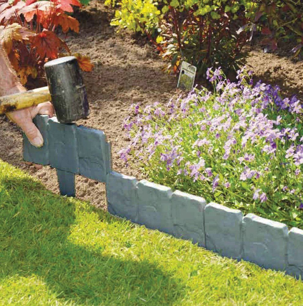 20Pcs Garden Fence Edging Cobbled Stone Effect Plastic