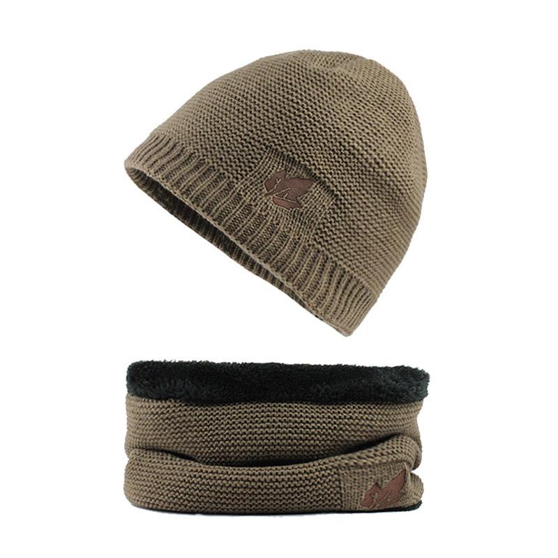 Men Winter Thicken Plus Velvet Knit Hat Scarf Set Outdoor Earmuffs Beanie With Neck Cover