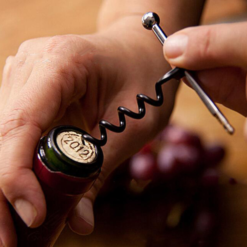 Multifunctional Outdoor Mini EDC EStainless Steel Corkscrew Wine Bottle Opener With Keychain Ring