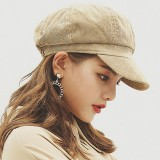 Womens Winter Corduroy Octagon Painter Beret Caps Leisure Outdoor Newsboy Peaked Cap