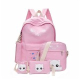 5Pcs/set Canvas Backpack Cat Large Capacity School Bags Camping Multi-function Travel  Bag