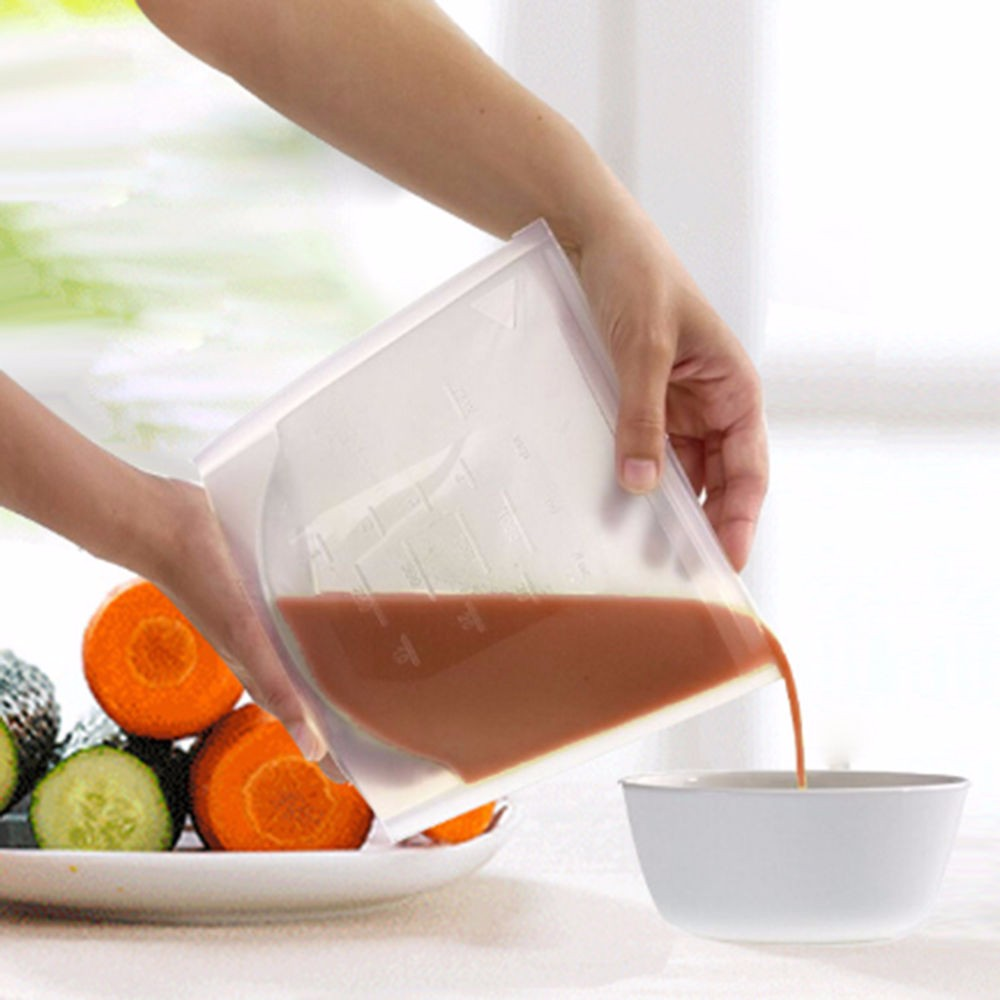 Reusable Silicone Food Fresh Bags Storage Sealed Containers for Refrigerator Kitchen Vacuum Bag