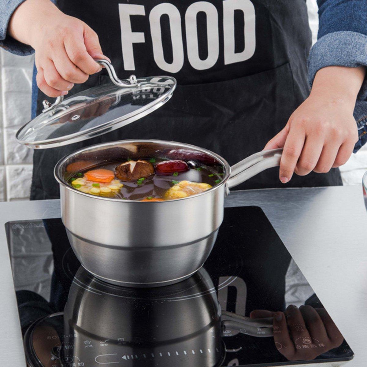 18cm Stainless Steel Steamer Induction Compatible Steamer Rack Milk Pot Cookware